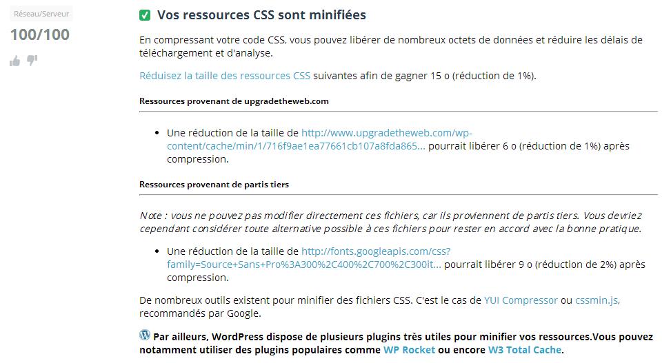 Minification CSS Dareboost