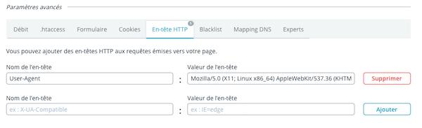 Configuration d'en-têtes HTTP