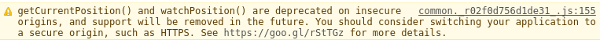 Geolocation Deprecated feature console message