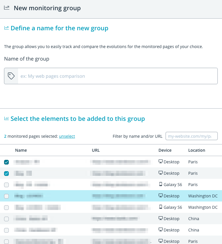 Group creation: select several page monitors