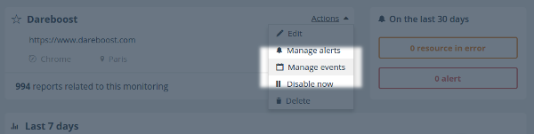 monitoring actions events