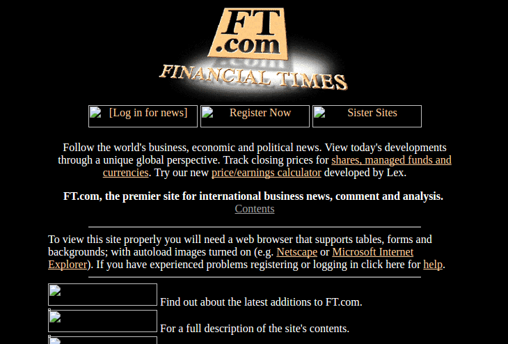 Le site du Financial Times en 1997