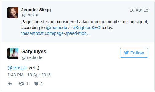"""not yet ;)"" Tweet from Gary about speed not being a ranking signal"
