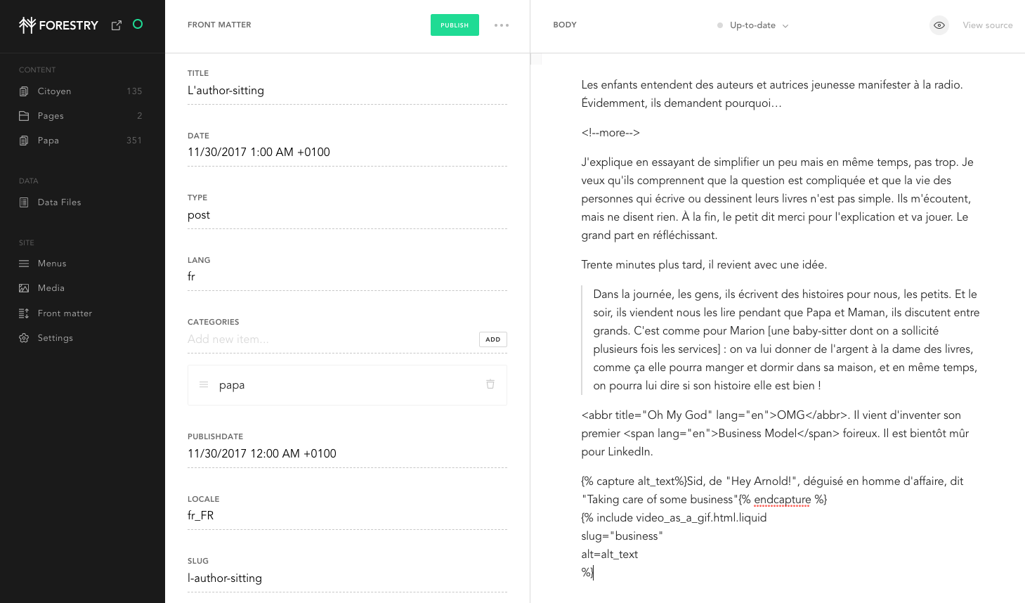Interface de contribution de Forestry.io