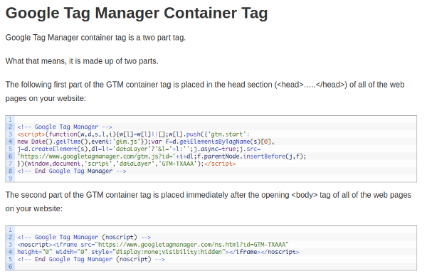 GTM container tag