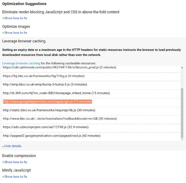 PageSpeed Insights optimization