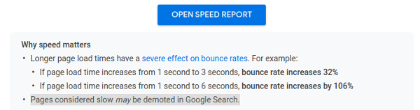 "Screenshot from the Speed Report Documentation: ""Pages considered slow may be demoted in Google Search"""