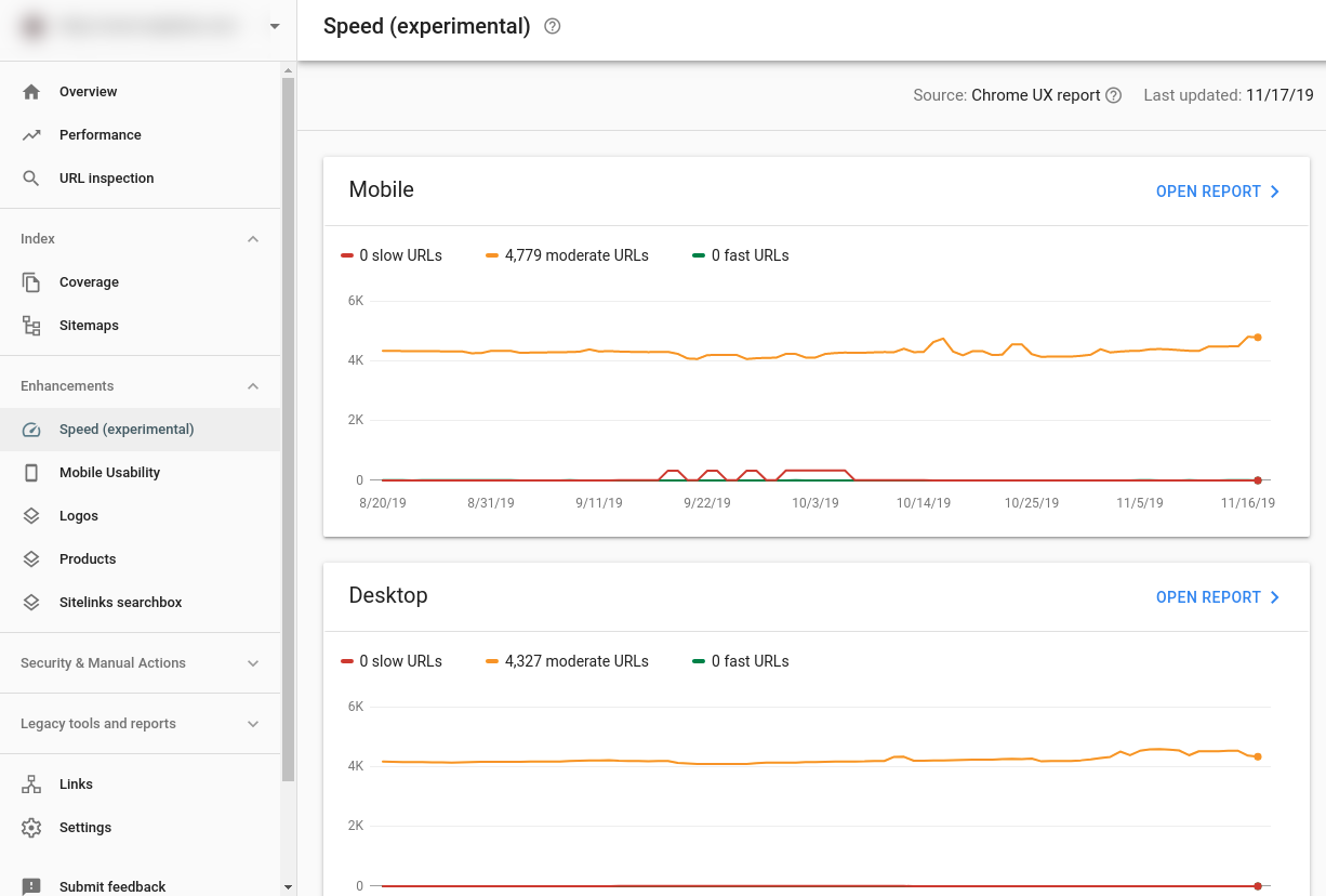 Search Console Speed Report Homescreen