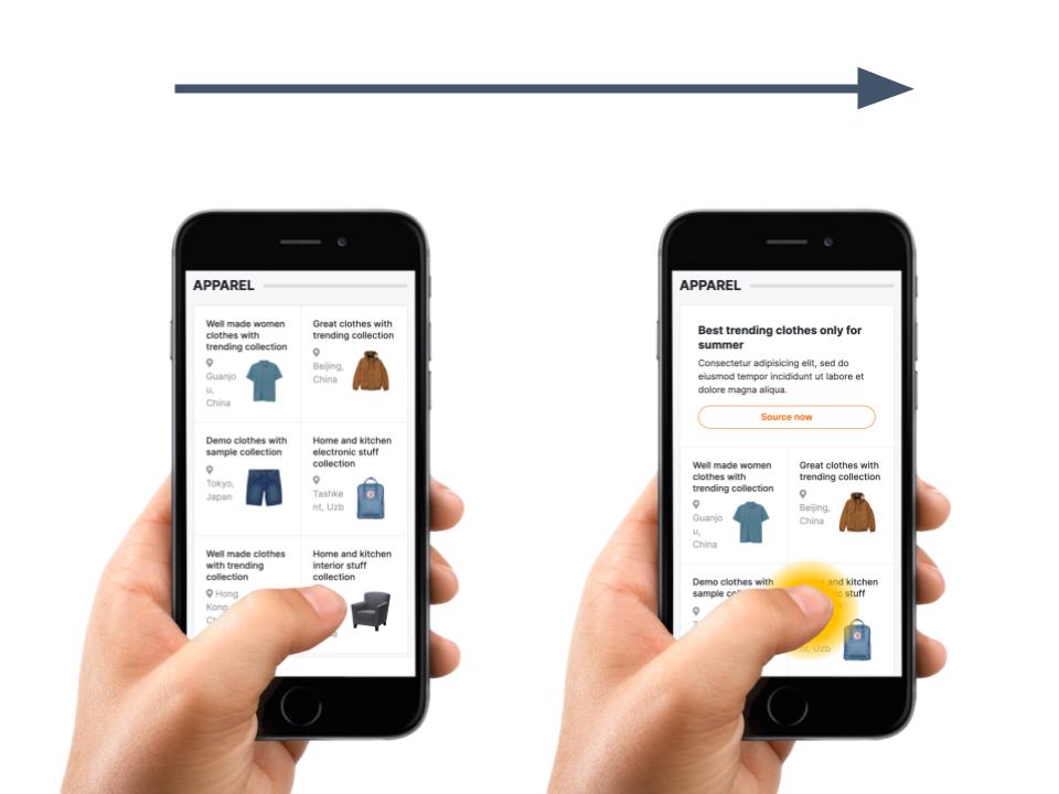 Deux images d'un utilisateur tenant un téléphone dans sa main. Dans la seconde image, un tapotement est matérialisé.