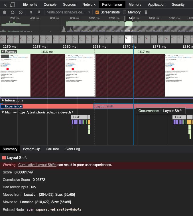 Une capture de l'onglet Performance des DevTools, quand on zoome et qu'on sélectionne un Layout Shift en particulier.